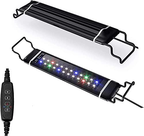 水槽ライトアクアリウムライトスライド式LED熱帯魚ライト水槽用明るさ調整3色12W/24LED観賞魚飼育水草育成(30-48cm水槽に対応)