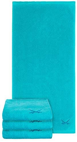 Sansibar Handtuch 4er Set 50x100 cm 100% Baumwolle mit gesticktem Säbel Logo Badtuch Türkis