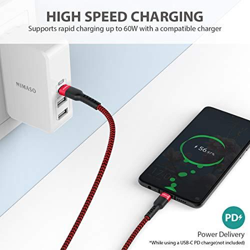 Nimaso USB C auf USB C 3.0 Kabel 0.3M,USB Typ C 60W 20V/3A Power Delivery Ladekabel USB C Schnellladekabel für iPad Pro 2020,MacBook Pro,Galaxy S20/S10/S21,Huawei P30,Google Pixel 3a/3,Xiaomi 9