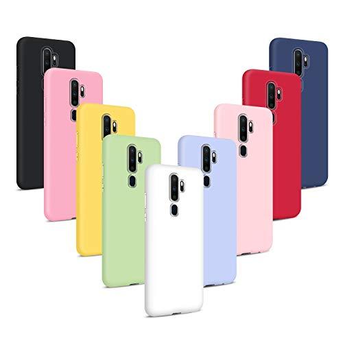 9X Funda para OPPO A9 2020/Oppo A5 2020, Carcasas Flexible Suave TPU Silicona Ultra Delgado Protección Caso(Rojo + Rosa Claro + Púrpura + Amarillo + Rosa Oscuro + Verde + Negro + Azul Oscuro)