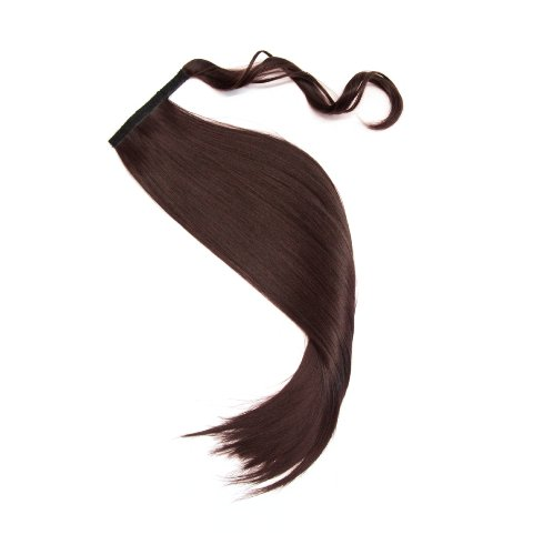 Postizo trenza cola de caballo liso 60 cm para engancharlo | Extensión de pelo flequillo en el color marrón NUEVAMENTE