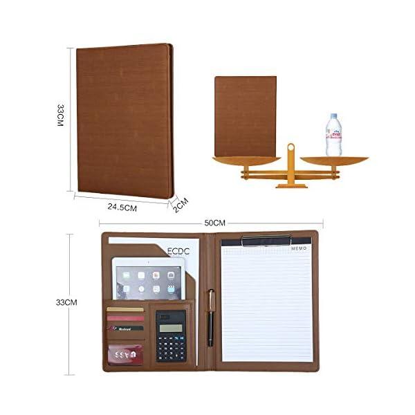 41sdSnx9GEL. SS600  - Leathario Portafolio A4 Piel Portadocumentos Cremalleras de Viaje Carpeta de Conferencias de Cuero Imitación Organizadora Profesional Comercial de Negocios con Calculadora