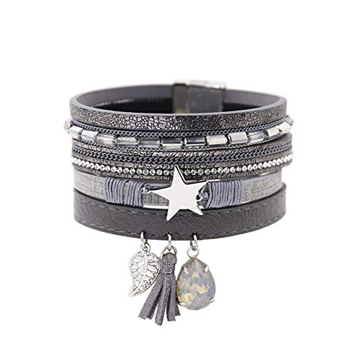 BLINGBRY Multi-Layers Lederen Armband met Kwastje voor Vrouwen Strass Crystal Charm Armband & Bangle Vintage Armband Armband Heren