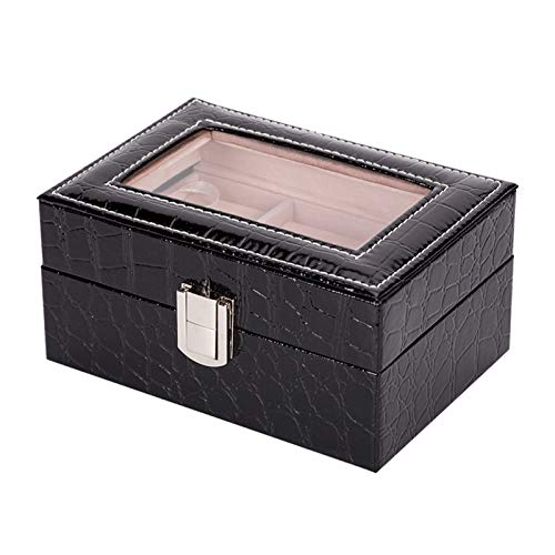 Jewelry Box, Transparent Cover Crocodile Pattern PU Jewelry Box Wooden Storage Box for Rings Bracelets Earrings Necklaces, 15.5 * 11 * 7.5 CM (L*W*H),Black