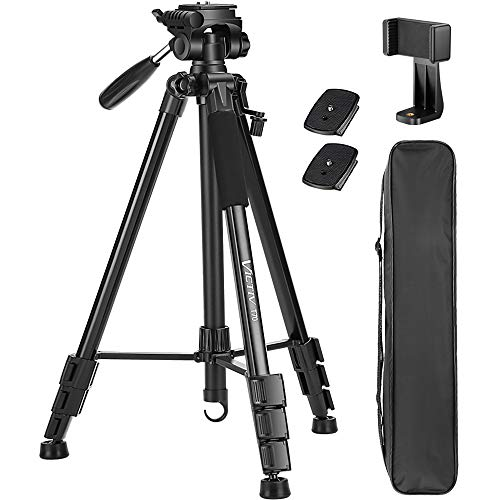 VICTIV 74 inch Camera Tripod, Aluminum Lightweight Travel Tripod for DSLR with Phone Holder and Extra Quick Release Plate Plus 3-Way Pan Head Compatible with iPhone/Android Phone (T70)
