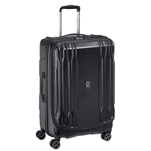 DELSEY Paris DLX Expandable Luggage with Spinner Wheels, Black, Checked-Medium 25 Inch