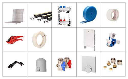 Fußbodenheizung Tackersystem Tackerplatte Selfio Komplettset 30 m² Ausführung: PE-RT Heizrohr, Verteilerschrank Unterputz, Raumthermostat analog