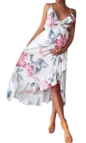 BOLAWOO-77 Mammakläder kvinnor knälång maxiklänning eleganta blommönster ärmlösa V-ringad sommarklänningar oregelbundna strandklänningar mammakläder