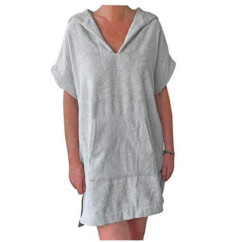 HOMELEVEL Damen Frottee Strandkleid 100% Baumwolle Strandponcho Poncho Badeponcho Handtuch Bademantel mit Kapuze Hellgrau S