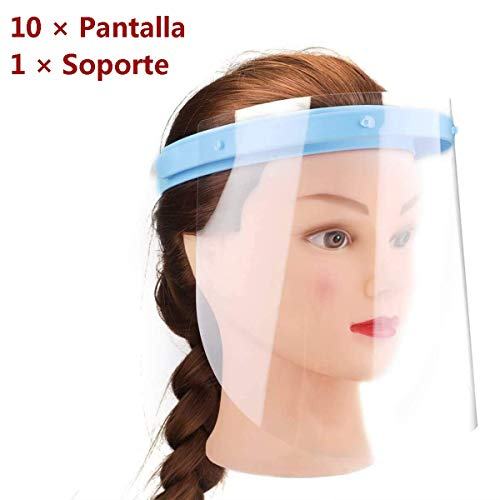 Kit Protector Facial Antisapicaduras Visera Seguridad Protege Cara Ojos Nariz Gotas Saliva Polvo Polen Comodo Mascara Transparente Ajustable Duradero Funcional Lavable Alta Calidad