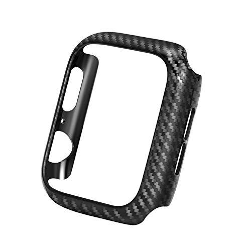 HGGFA Cubierta Negra Fibra de Carbono Delgada para el Parachoques para el Reloj de Apple SECHE 40mm 44mm 38mm 42mm Frame Edges Series 6 5 4 3 2 Concha Dura (Color : Black, Dial Diameter : 42mm)