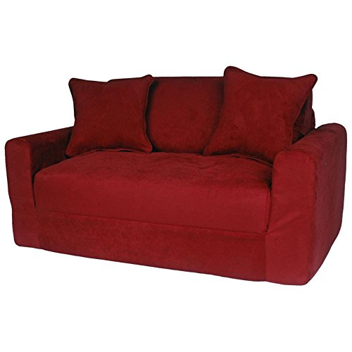 Fun Furnishings Micro Suede Sofa Sleeper with Pillows, Red