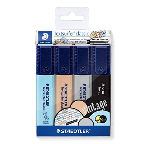 STAEDTLER 364 CWP4 Textsurfer classic 364 Textmarker (hohe Qualität Made in Germany, mit großem Tintenspeicher für extra lange Markierleistung, Etui mit 4 Farben, Vintage)