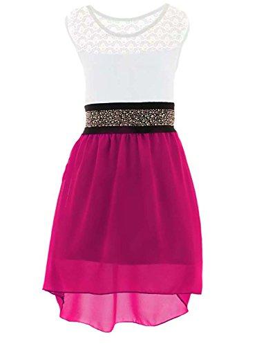 GILLSONZ PK99vDa Mädchen fest Kommunions Hochzeit Kinder festlich Party Kleid Gr.98-176 (128/134, Pink)