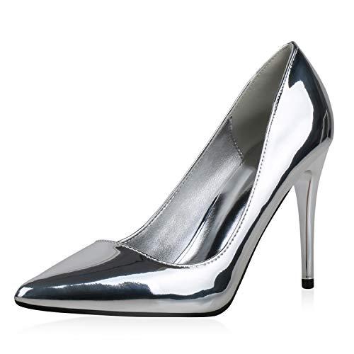 SCARPE VITA Damen Spitze Pumps Stiletto High Heels Metallic Schuhe Party Abendschuhe Modische Lack Absatzschuhe 190387 Silber Silber 38