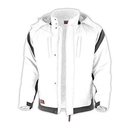 Winter-Softshelljacke Pro warme Arbeitsjacke Berufsbekleidung Maler,Trockenbau weiß-grau Gr.S-3XL (M)