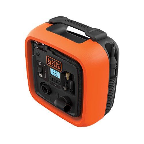 Black+Decker 11,0 bar/12 V compressor/luchtpomp (160 psi, voor banden, ballen, rolstoelen, enz, met 2 bedrijfsmodi en afpompmodus, ASI400, 12 V)