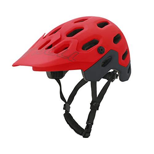 Zeroall Casco Bici Casco da Bicicletta Dimensioni Regolabili 54-58cm Donna Uomo Mountain Bike Helmet con Visiera Staccabile, Casco da Ciclismo per Bicicletta Scooter Skateboard(Rosso M)
