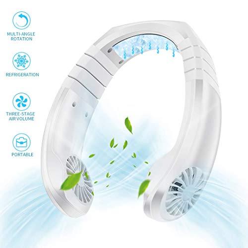 NSDDTXD Tragbarer Ventilator,Mini USB Nackenbügel Ventilator,Reiselüfter Wiederaufladbarer Nackenlüfter,Hängender Fan mit 3 Geschwindigkeiten für Wandern, Camping im Freien,Weiß