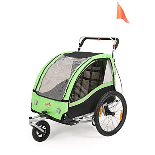SEPNINE 2 in 1 Kinder Fahrradanhänger 360° drehbar Mul-Tifunktion Kinderwagen Zweisitzer Baby Buggy Transportwagen mit Handbremse/Federung Grün
