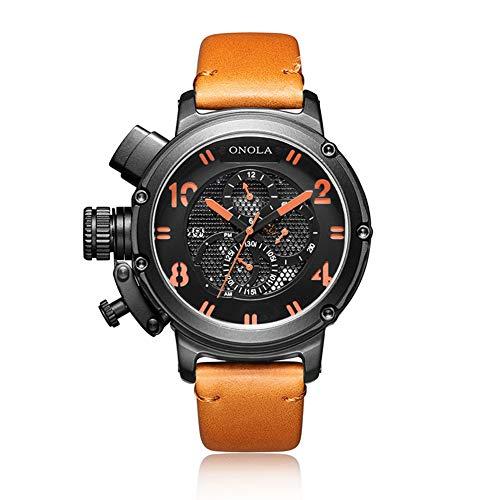 Cqing Relojes Casuales para Hombres Impermeable Mecánico automático Viento Manual con Correa de Piel de Becerro Reloj de Pulsera Big Face para Hombres,D