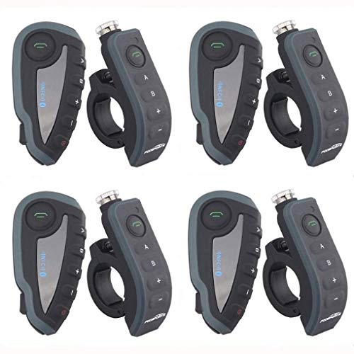 RUIXFRU Potente Auricular con Intercomunicador Bluetooth para Motocicleta, Sistema De Intercomunicación con Casco Bluetooth 1200M con Control Remoto, 4