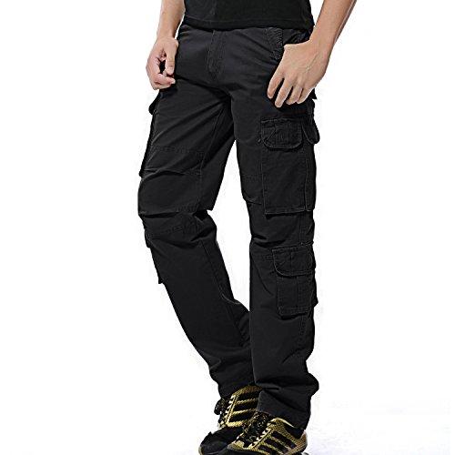 """AYG Herren Cargo Hose Baumwolle Militär Hose Wandern Cargo Pants (Schwarz(Black Nr.25), W42/L33(42\"""" Taille/33 Inseam))"""