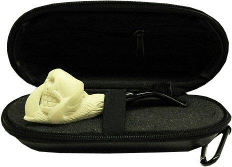 Miniature Meerschaum Pipe - SKULL & CLAW w/ Zippered Case
