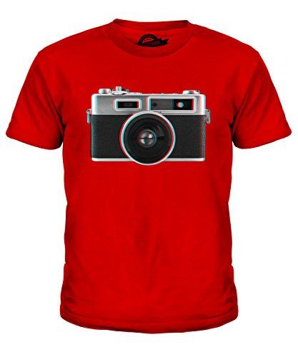 Candymix - Camiseta unisex con cámara retro 3D, unisex, para niños Rojo rosso 9-10 Años