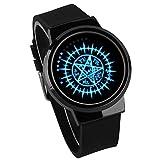 Relojes De Pulsera,Touch-Screen Led Watch Black Butler Contract Charlesay Nightlight Waterproof Quartz Watch Gun Black Watch Strap