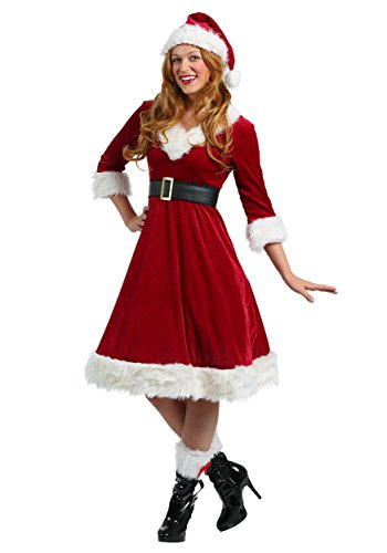 Women's Santa Claus Sweetie Costume Adult Christmas Costume Red Dress and Santa Hat X-Large