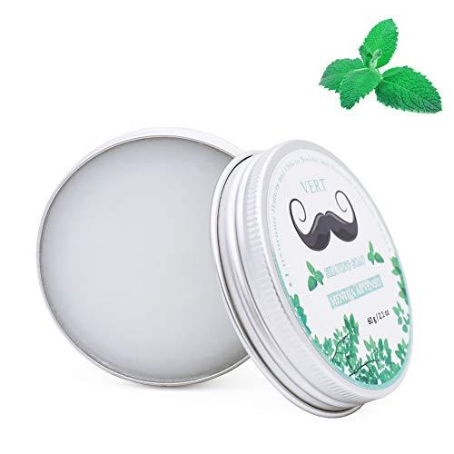 VERT Rasierseife - Minze Shaving Soap- Natur Bio Reichhaltigen Schaum. Besser als Rasierschaum. Beruhigende Haut. Fantastischer Duft. Langlebig 60g für alle Hauttyp Herren Damen