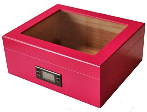 """GERMANUS """"Rosa Zigarren Humidor mit Digital Hygrometer in Pink für ca. 50 Zigarren"""