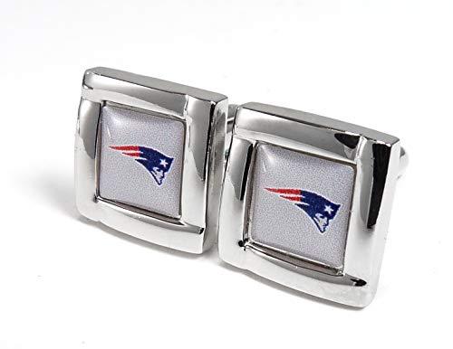 aminco NFL Manschettenknöpfe mit New England Patriots Logo, quadratisch, mit Geschenkbox, Einheitsgröße, silberfarben