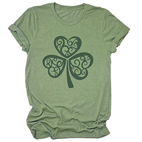BUDAA Camiseta estampada con cuello redondo, diseño de trébol, estilo informal, ajustada, de manga corta, ideal como regalo verde XXL
