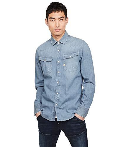 G-STAR RAW 3301 Slim Fit Hemden Camisa, Negro (Faded Basalt B843-b155), XXL para Hombre