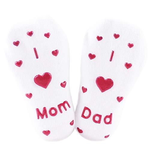 Meias antiderrapantes para bebês com letras de algodão para presente de chá infantil antiderrapante meias divertidas de 0 a 24 meses, Vermelho, 0-2Month