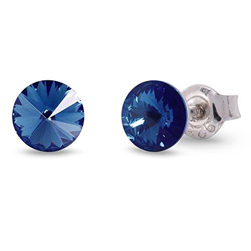 Spark Swarovski Elements Damen Ohrstecker Sterling Silber 925, Swarovski Kristall 6 mm rund dunkelblau