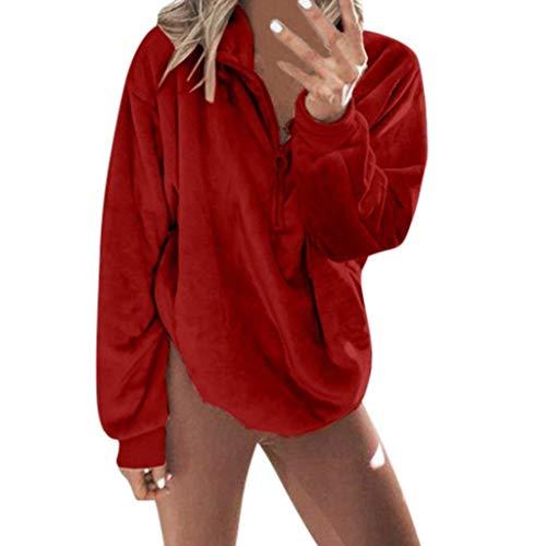 Reooly Otoño e Invierno Moda Mujer Cremallera Cuello Alto Lino Sudadera Casual de Manga Larga con suéter de Bolsillo Superior