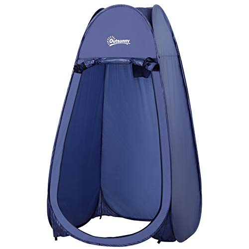 Outsunny Tienda de Campaña Instantánea Tipo Carpa Ducha Cambiador WC Impermeable para Camping 100x100x185 cm Turquí