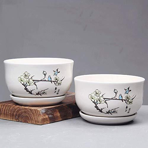 L.BAN Vaso in Ceramica per casa 2 Set di vasi da Fiori Combinazione di vasi per seminatrici Contenitore Gentleman with Hole Vaso da Giardino (Colore: C)