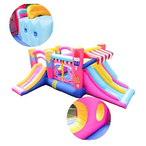 Luchtkasteel outdoor grootschalige park trampoline kind met glijbaan hoge dichtheid waterdicht materiaal met een haardroger (Color : Pink, Size : 510 * 380 * 200cm)