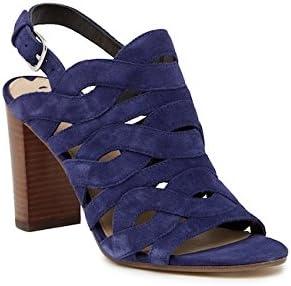 Via Spiga V-Galore Blue Suede Strap Heeled Sandal
