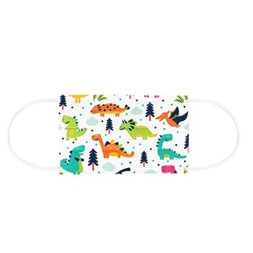 FIRSS Kinder Staubschutz Schön Atmungsaktive 3-Lagig Einweg Multifunktionstuch Drucken Mundschutz Gesicht Staubschutz mit Ohrschlaufen Hautfreundlich Schutz Tuch Bandana Schule (Dinosaurier B, 50pcs)