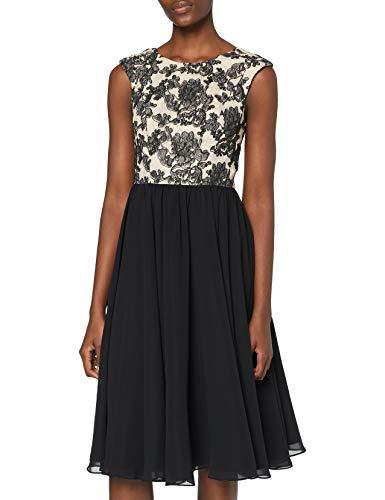 Swing Damen knielanges Kleid mit Blumenverzierung, Gr. 40, Mehrfarbig (pastellorange/schwarz 7910)