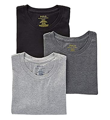Polo Ralph Lauren Classic Fit w/Wicking 3-Pack Crews Andover Heather/Madison Heather/Black LG