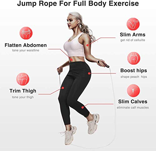 NA Alfya Skipping Rope Adult for Men Women, Speed Jump Rope for Fitness with Soft Memory Foam Handle Tangle-free Adjustable (RED)