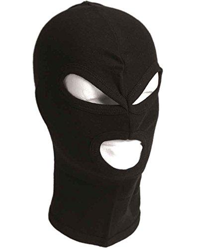 Miltec - Pasamontañas de 3 Agujeros con Mando a Distancia, Color Negro, algodón para Adulto, Unisex, Talla única