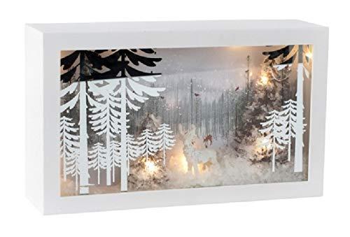 Miss Lovely - Marco de fotos con iluminación LED, romántico paisaje invernal y madera de ciervo, metal y cristal, con iluminación LED, decoración navideña