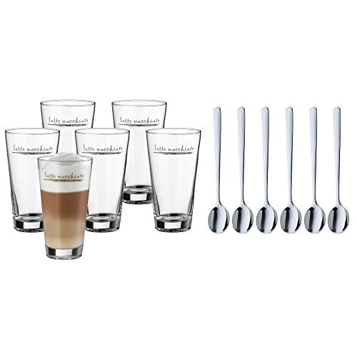 WMF Clever&More Latte Macchiato Gläser Set 12-teilig, Latte Gläser mit Löffel 280 ml, Latte Macchiato Glas mit Aufrdruck, spülmaschinengeeignet